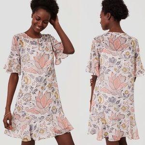 LOFT   Shimmer Floral Flounce Dress Small Petite